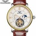 Casual dos homens relógio marca de luxo guanqin turbilhão mecânico automático de couro relógio do esporte dos homens relógio relogio masculino