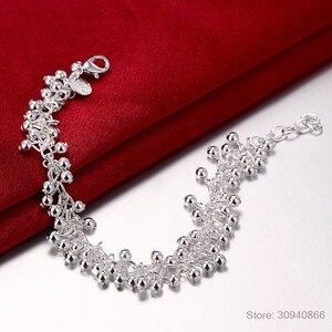 Женские гладкие браслеты LEKANI, браслеты из бусин и стерлингового серебра 925 пробы с виноградом