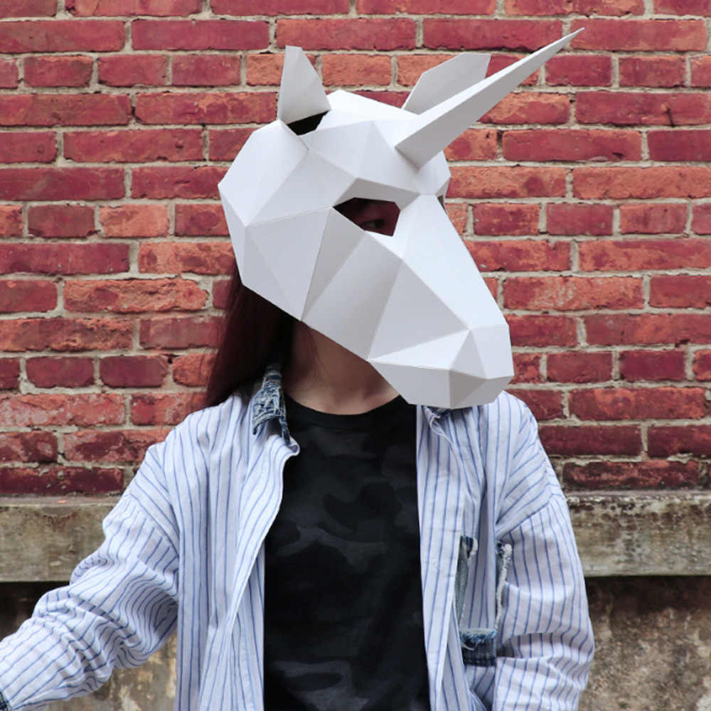 1 Pcs Unicorn Mask Paper Head Cover Adult cardboard Breathable Halloween Party Decor Party Tricky Funny Mask Cosplay Mask