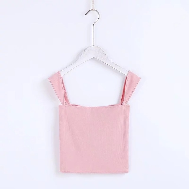 2018 Summer Women slash neck Vest knitted Cotton bustier white Solid crop top elastic sexy Slim tank tops 5 colors