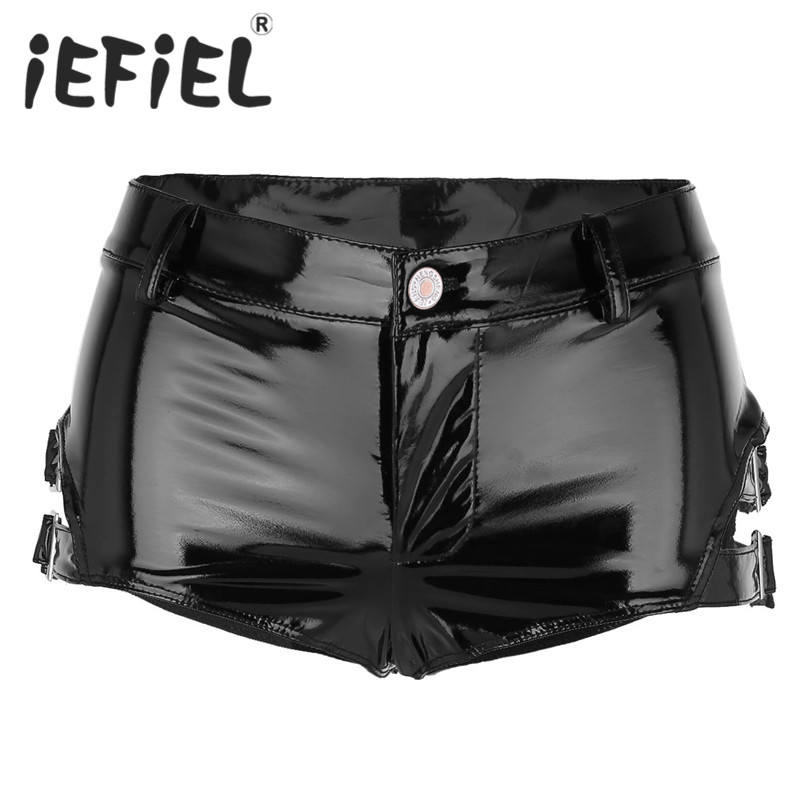 iEFiEL Fashion Women Shorts Wet Look Patent Leather Low Rise Clubwear Mini Shorts Hot Shorts with Buckles Nightwear Clothes