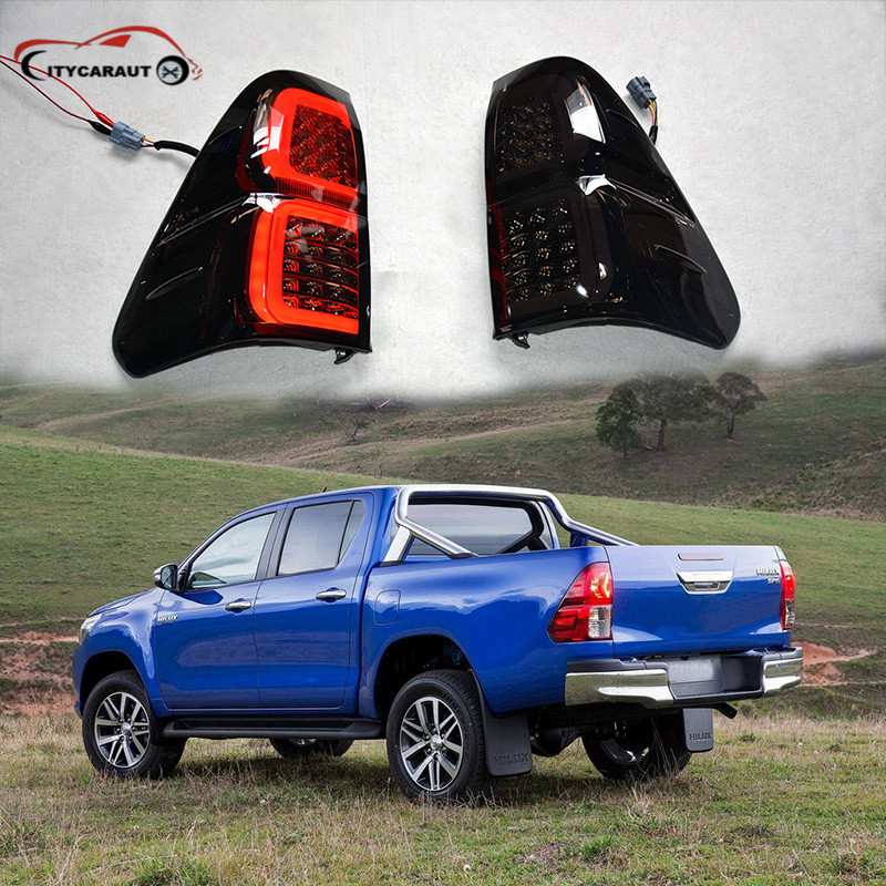 New style for HILUX Revo 2015-16 LED Smoke shell Black Case taillights rear lights casio casio mtp 1183e 7b