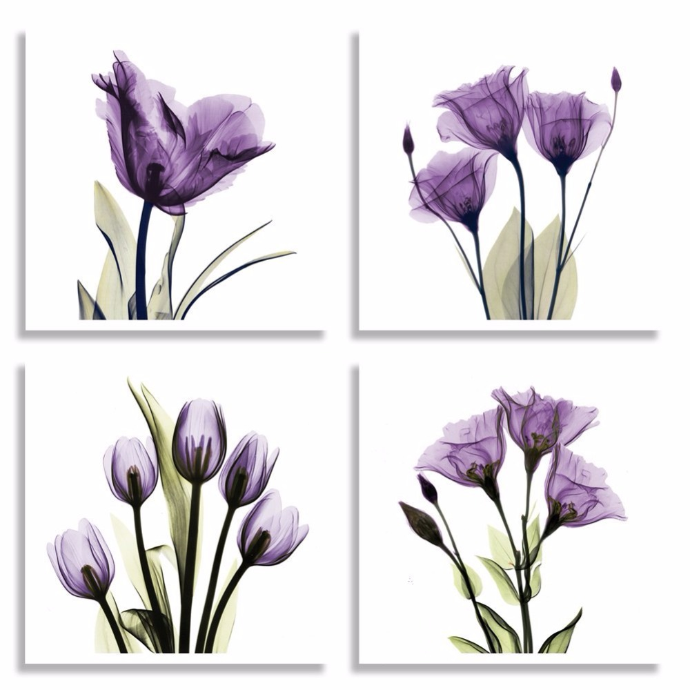 4 Piece Elegant Purple Tulip Flower Painting Canvas Art Print on Canvas for Study <font><b>Bed</b></font> Room Living Room Wall Decor Framed