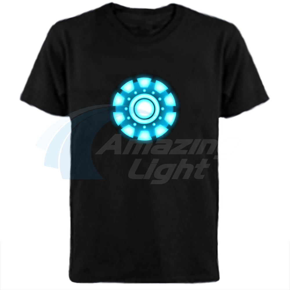 Iron Man LED Light Sound Control Tee Tops Tony Stark Reactor Women Men T-Shirt