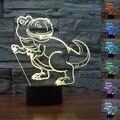3D Lamparita Ligthing para Habitación de Los Niños de Dinosaurios Tridimensional Mesa Táctil USB Lampara Gradiente de Colores de Acrílico Decoración Del Hogar