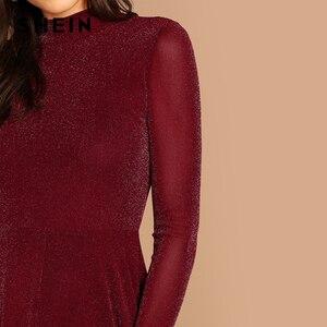 Image 5 - Shein borgonha indo para fora mock pescoço gola de manga longa glitter ajuste alargamento a linha vestido outono workwear vestidos femininos