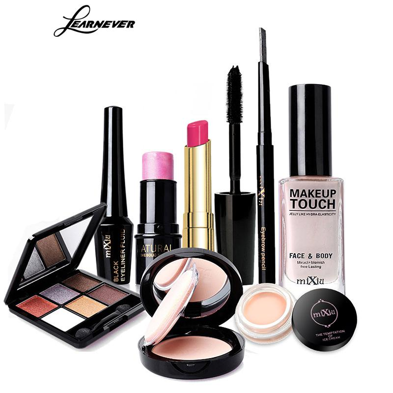 LEARNEVER Makeup Set Eye Shadow Eyeliner Liquid Eyebrow Pencil Mascara Powder Cake Foundation Lipstick Blush Concealer Maquiagem learnever makeup set eye shadow eyeliner liquid eyebrow pencil mascara powder cake foundation lipstick blush concealer maquiagem