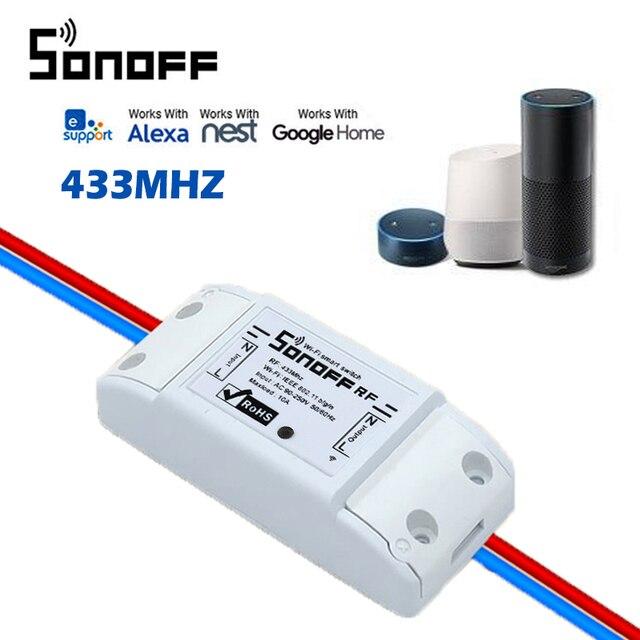 SONOFF RF WiFi interruptor inalámbrico hogar inteligente 433 Mhz automatización RF interruptor remoto módulo para Sonoff RF trabajo con ALexa google