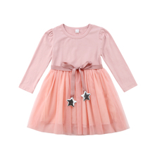 Pudcoco Summer Toddler Infant  Baby Girl Boy Kid Clothes Long Sleeve Lace Flower Party Tutu Princess Dress 2019