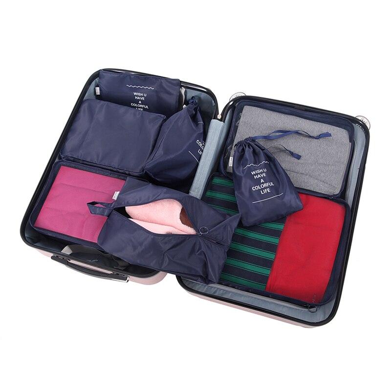 8 Pcs/ensemble De Stockage De Voyage Sac Étanche Emballage Portable Vêtements De Tri Salle De Bains Chambre Maquillage Organisateur Accessoires Fournitures