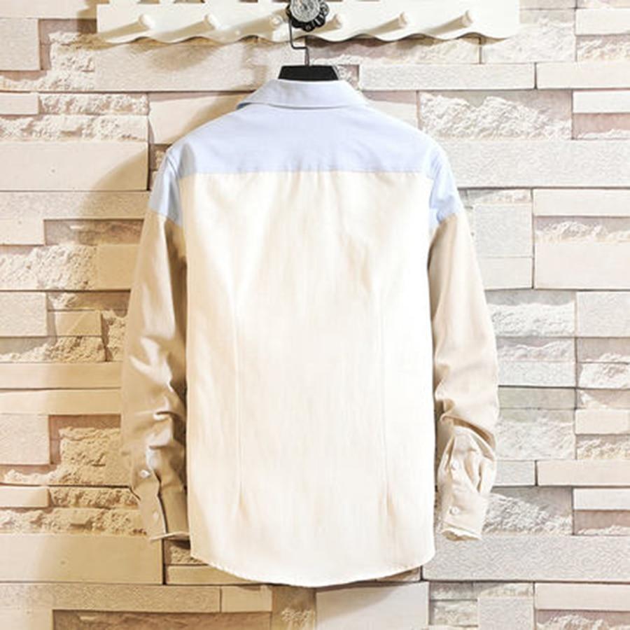 Casual Patchwork Shirt 2019 Spring Men Button Big Size Korean Style Clothes Summer Slim Fit Fashions Camisa Men Dress 50CS034 3