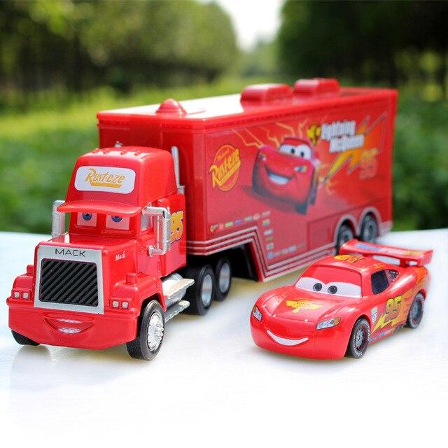 Игрушки из мультфильма Cars Pixar Cars Truck McQueenes Diecast 1:55 Металлические Игрушки Модели Автомобиля Детей + Маленький Автомобиль