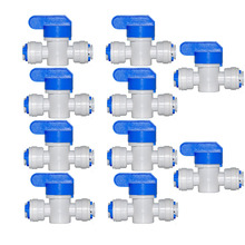 цена на 10 PCS Water Connect 1/4 inch Ball Valve Shut off Quick Connect for Water Reverse Osmosis System Aquarium Osmosis