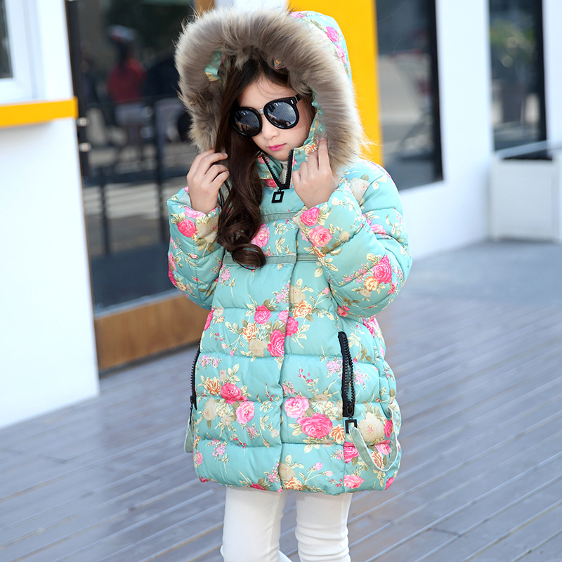 Flowers Print Girls Parkas with Big Fur Collars Winter Girls Padded Jackets Kids Long Coats Thicken Outerwear Jackets Clothes