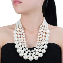 Lady Hot Selling Fashion Jewellery 4 Rows Small To Large White Pearl Beads Chain Statement Unique Elegance Dress Long Necklaces(China)