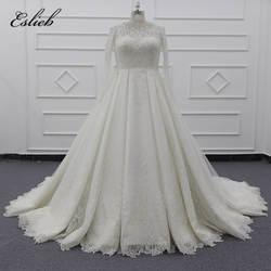 Eslieb специально Роскошный топ тяжелые Бусины кружева свадебное платье es A Line Плюс Размер свадебное платье 2019 Vestido de Noiva Свадебные платья