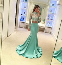 Zwei Stück Langarm Chiffon Spitze Brautkleider Meerjungfrau 2016 Sheer High Neck Lace Günstige Formale Party Kleider Abendkleider EE91