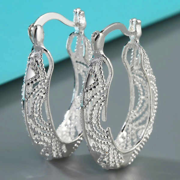 Luxury Female Small Pearl Hoop Earrings Fashion 925 Sterling Silver Wedding Jewelry Vintage Double Earrings For Women