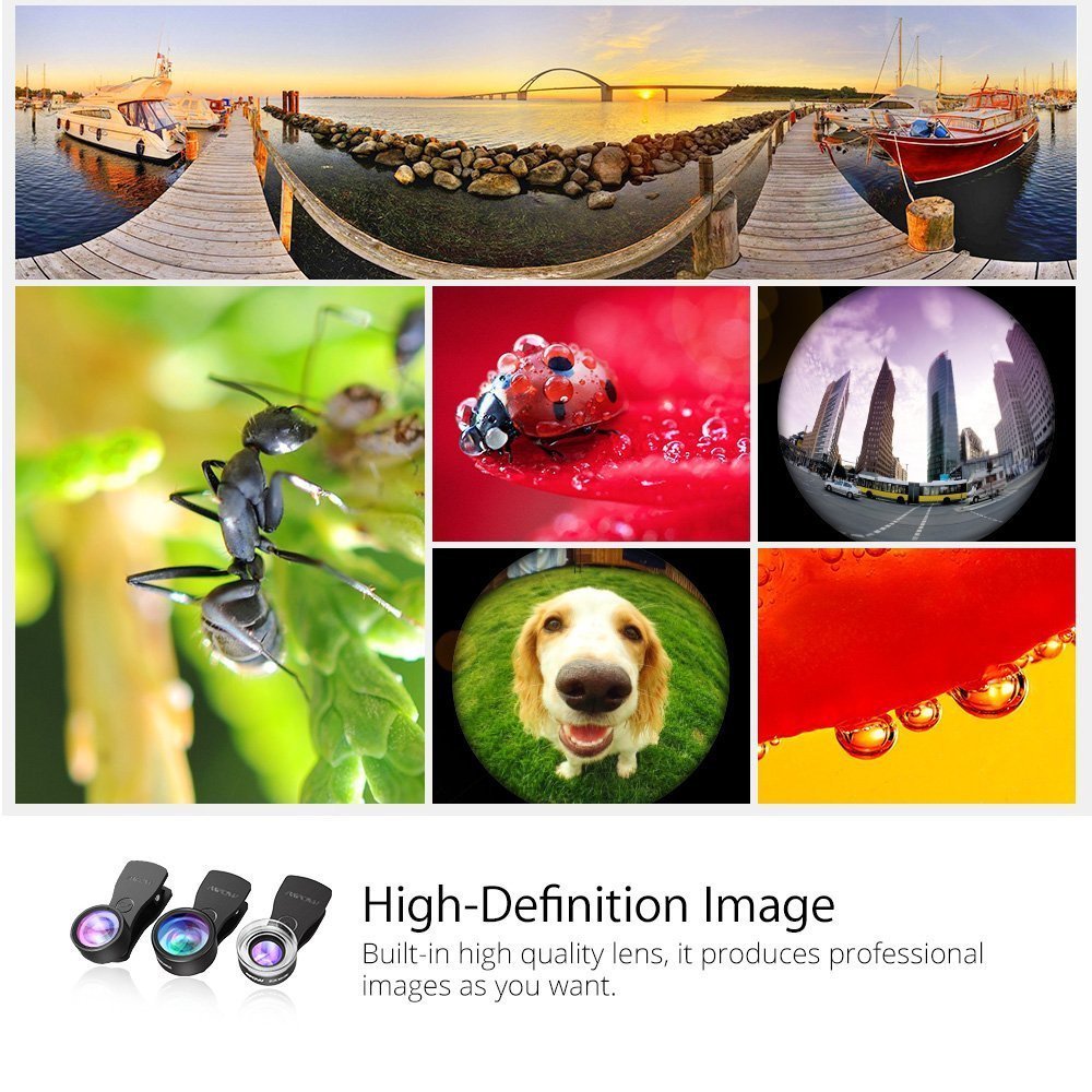 Original Mpow MFE4 Clip-On Phone Camera Lens Kits 180 Degree Fisheye Lens + 0.36X Wide Angle + X Macro Lens for Cellphones 4