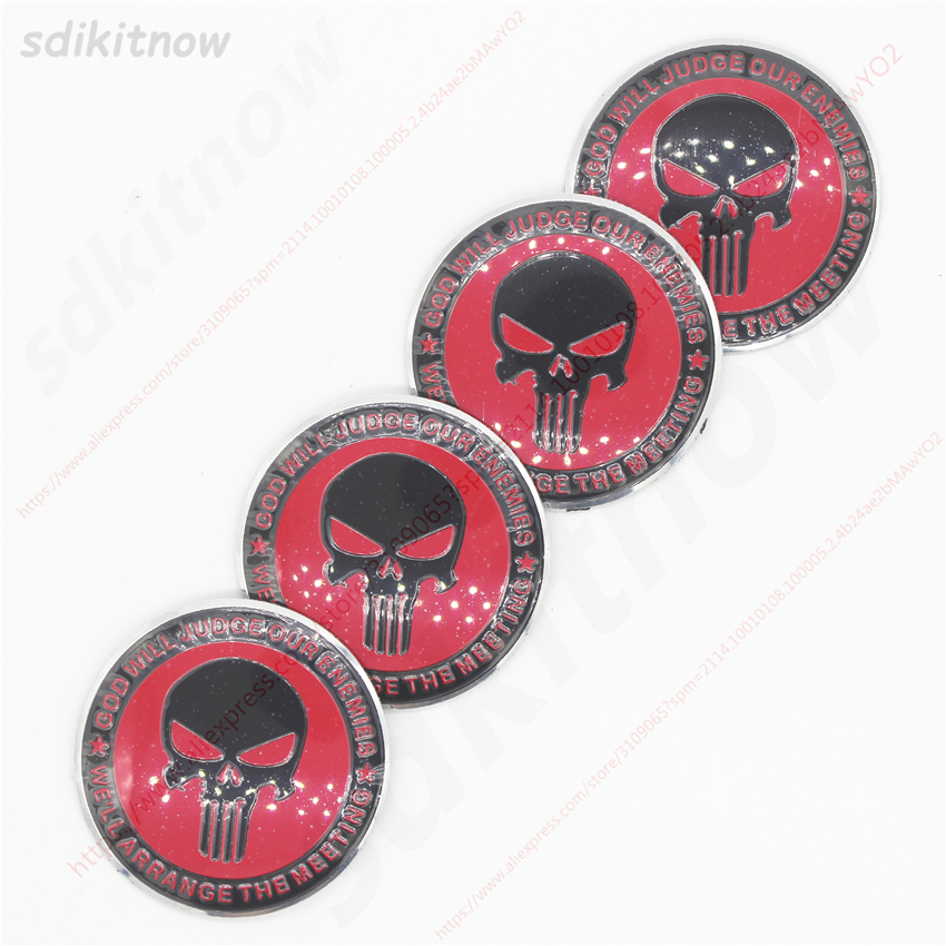 4pcs Punisher Skull Car Wheel Center Hub Caps Cover Rim Sticker Badge Fit Styling For BMW AUDI VW FORD HONDA KIA JEEP Renault