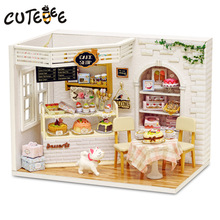 Doll House Møbler Diy Miniature Dust Cover 3D Wooden Miniaturas Dollhouse Leker til barn Bursdag Gaver Cake Diary H14
