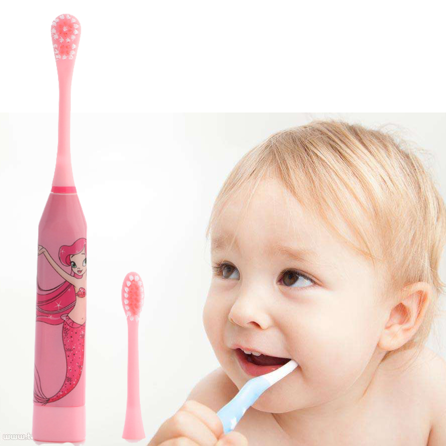 JIEFUXIN Cartoon Children Tooth Brush Electric Toothbrush For Kids Electric Massage Ultrasonic Toothbrush Teeth Care Oral Hygien ultra soft children kids cartoon toothbrush dental health massage 1 replaceable head outdoor travel silicone retractable folding