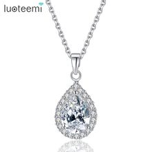 LUOTEEMI Classic European Style AAA Zirconia Water Drop Neckalce CZ Stone Pendant High Quality Necklace Jewelry for Wedding(China)