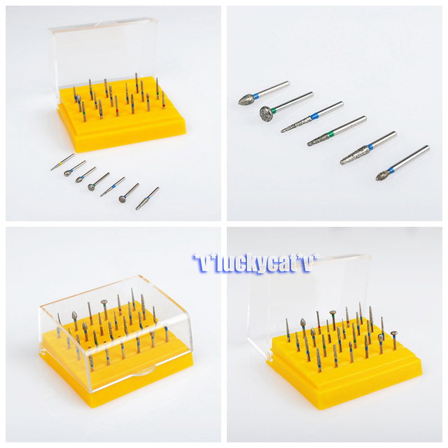 Dental Diamond Burs Set For Porcelain Shouldered Abutment Polishing 24PCS FG1.6