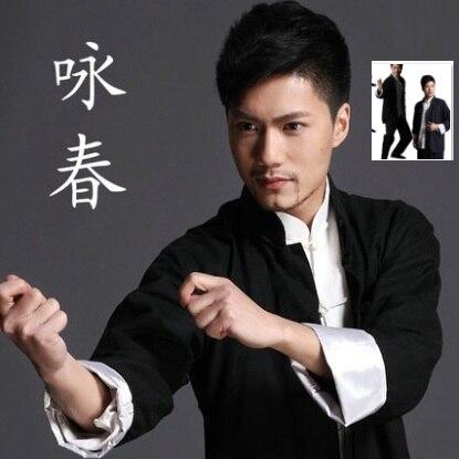 2015 Hoge Kwaliteit Mens Ademend Voorzien Bruce Lee Kleren Vintage Chinese Wing Chun Kung Fu Uniform Tai Chi Vechtsporten Set Tekorten
