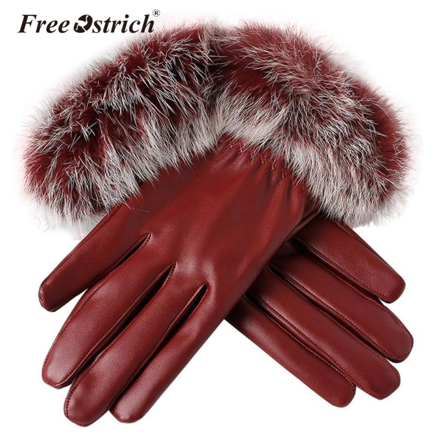 Free Ostrich 2019 Woman Lady Black Pu Leather Gloves Autumn Winter Warm Rabbit Fur Female Gloves Guanti Invernali Donna B0140 Back To Search Resultsapparel Accessories