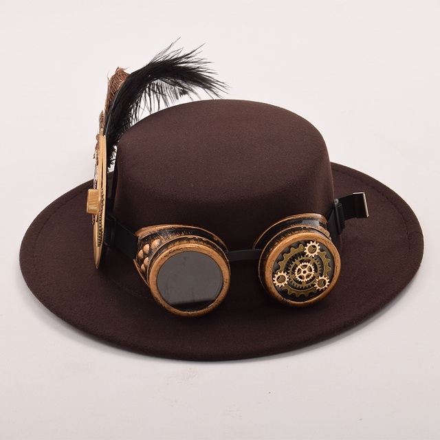 Шляпа в стиле стимпанк с очками вариант 5 2