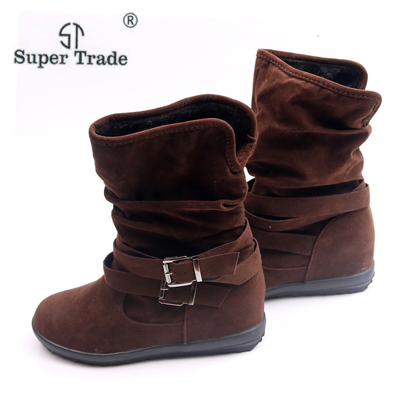 Autumn Winter Women Casual Flock Boots Flat Bottomed Cashmere Boots Waterproof Non-Slip Womens Boots Ladies Round Toe Shoes ...
