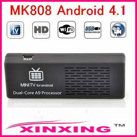 Original MK808 Mini PC Android TV box 4.1 Dual-Core 1.6 GHz RAM 1GB ROM 8GB HDMI 1080P RK3066, With Retail Package