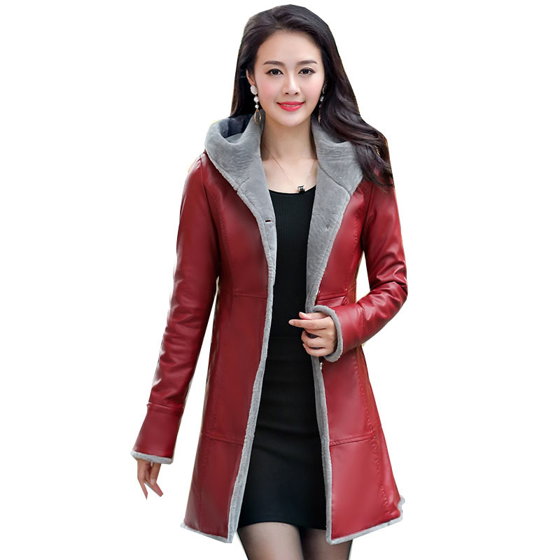 Winter   Leather   Jacket Women's Outerwear hooded Collar Fashion Coats 2018 Lamb Wool   Leather   Jackets warm thicker   leather   QH0936