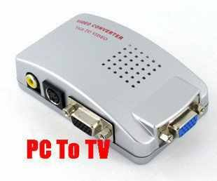 PC VGA ke TV AV, RCA, S-Video Converter Adapter Box Output Komputer Laptop VGA ke RCA AV Input TV Beralih Box