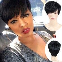 Corte Pixie corta Pelucas Pelucas Cortas Para Las Mujeres Negras Afroamericanas Mujeres Perruque Perruque Pelucas Corto Negro Peluca de Pelo Sintético