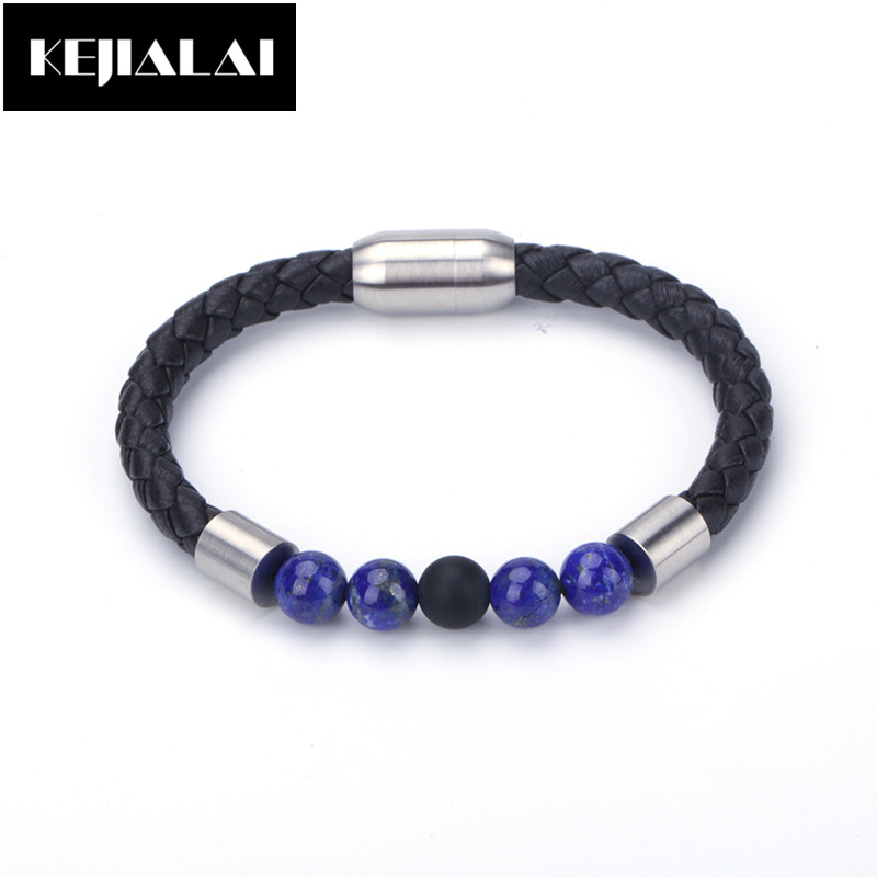 Hot Sale Sheepskin Leather Charm Bracelet Brown Color Geniune Leather Natural Stone Bead Bracelet Stainless Steel Magnetic Clasp