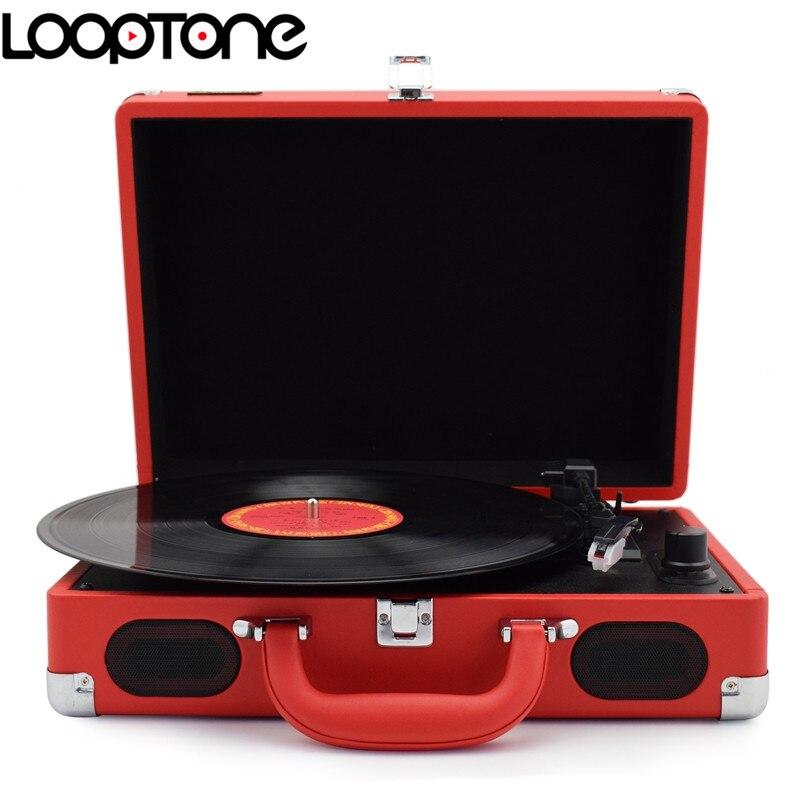 LoopTone 33/45/78 об / мин портативный чемодан портфель проигрыватель виниловый проигрыватель пластинок Фоно игроков AUX вход, линейный выход Электропитание ac110~240В Красный
