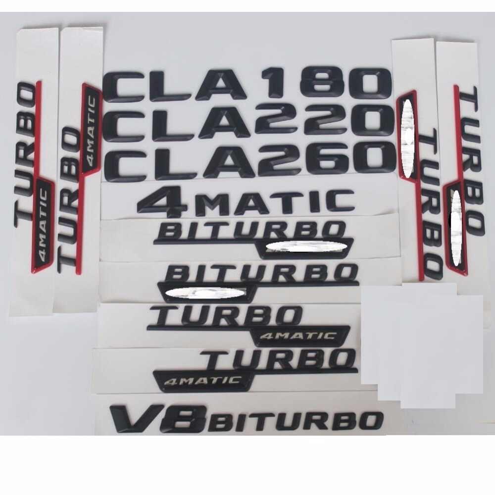3D מאט שחור מכתבי Trunk תג סמל סמלי תוויות מדבקת עבור מרצדס בנץ CLA180 CLA200 CLA220 V8 BITURBO AMG 4 4MATIC