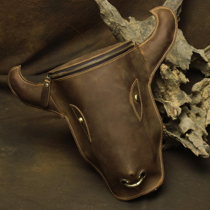 YISHEN Vintage Crazy Horse Leather Men Backpack Cow Head Shape Male Motorcycle Bag Fashion Men Shoulder