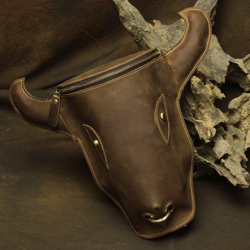YISHEN Vintage Crazy Horse cuir hommes sac à dos vache tête forme mâle moto sac mode hommes sacs à bandoulière sacs de voyage LD8841