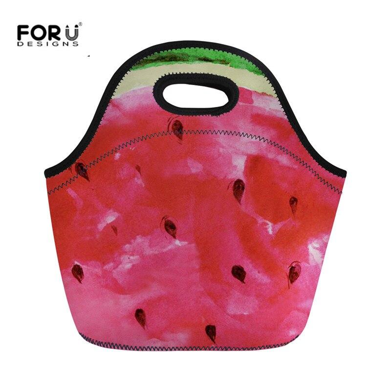 Bolsas para Senhoras Bolsas de Neoprene Caixa de Jantar Bolsa de Viagem Forudesigns Bonito Frutas Melancia Padrão Almoço Meninas Manter Aquecido 3d