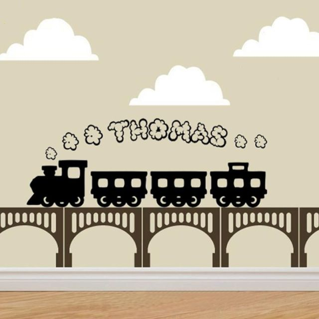 Cute personalised train smoke any name vinyl wall stickers wall decor kids rooms wall decals graphic