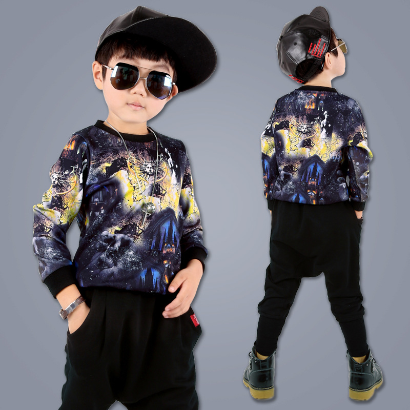 2017 Spring New Children Hip Hop Style Boys Clothes Kids Boys Fashion Sports Two piece Clothing ...