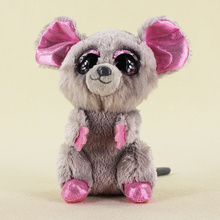 15cm Ty Beanie Boos Big Eyes Plush Toy Doll Gray Mouse Baby Kids Gift Free Shipping