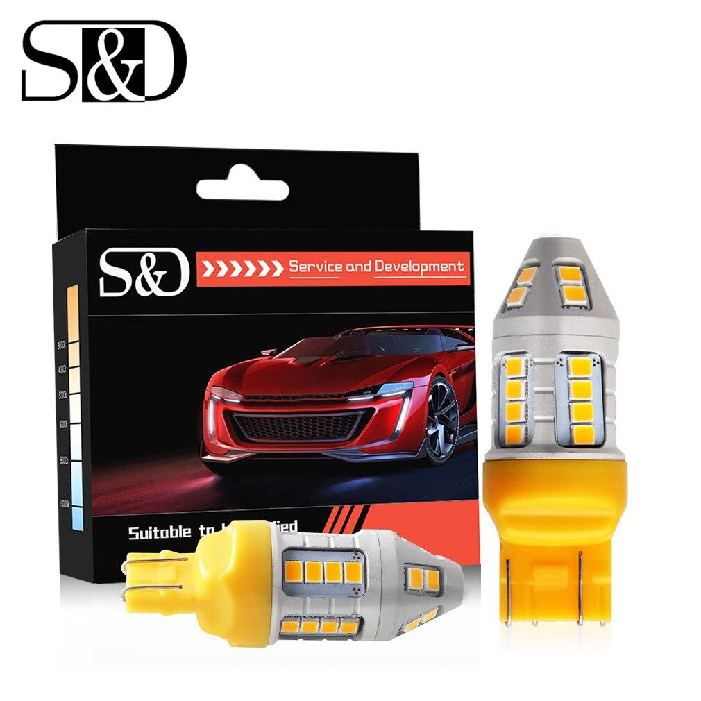 2Pcs Auto LED Bulbs WY21W T20 LED W21W W21/5W 7440 7443 DRL Turn Signal Lamp Parking Backup Reverse Car Lights White Yellow Red