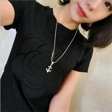 women summer 3d camellia embroidery luxury  T-shirt