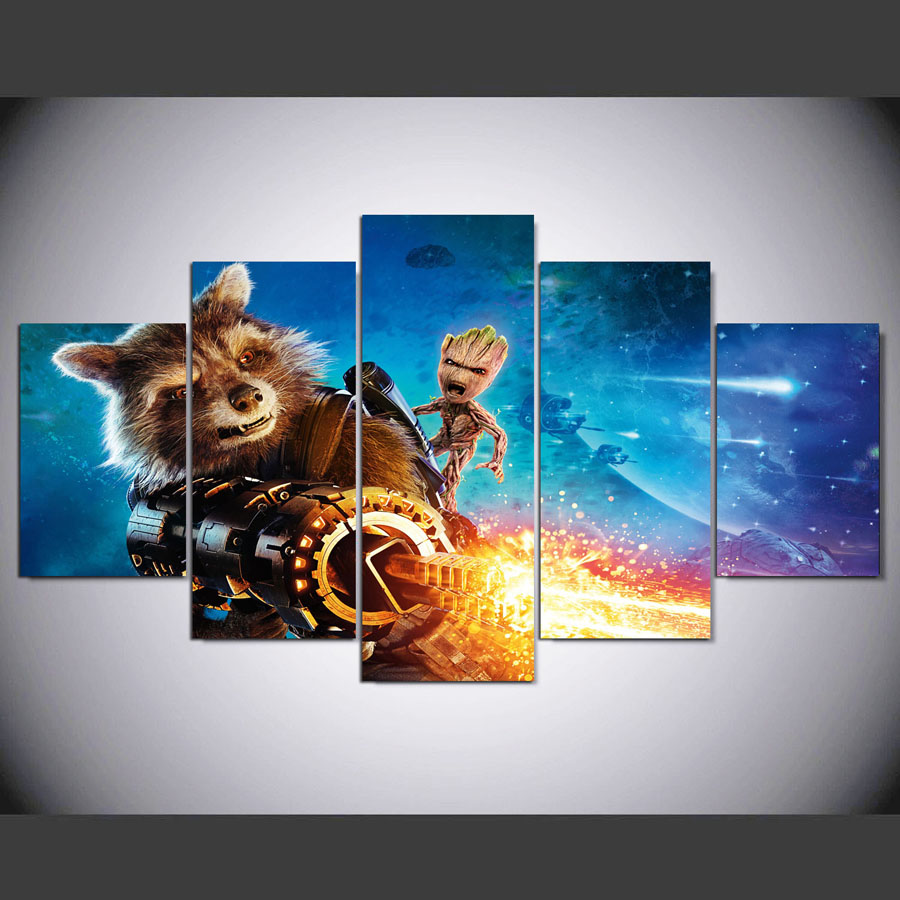 canvas art print poster pintura paneles de pared pelcula guardianes de la galaxy rocket mapache