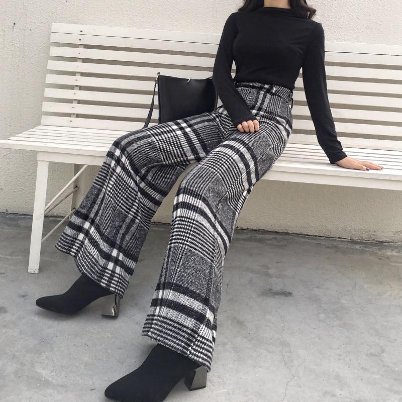 2018 Fashion Autumn Winter   Wide     Leg     Pants   Women High Waist Plaid Striped Loose Palazzo   Pants   Elegant Office Ladies Trousers