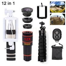 Cheap price Phone Camera Lenses Kit Telescope 12X Telephoto Zoom Lentes Wide Angle Macro Fish eye Lens For iPhone 4 5 5C Se 5S 6 6S 7 Plus